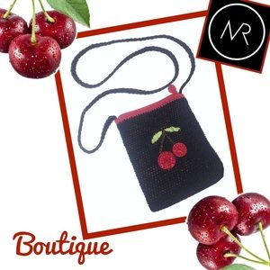 Handbags - BOUTIQUE Cherries on Black Woven Crossbody